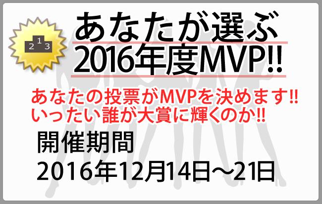 あなたが選ぶ2016年度MVP!!